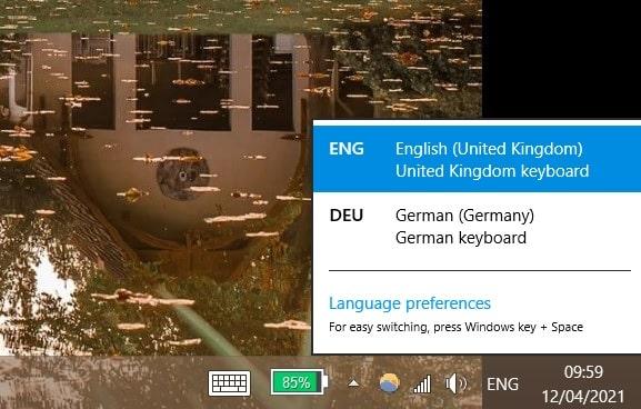 windows language change start menu