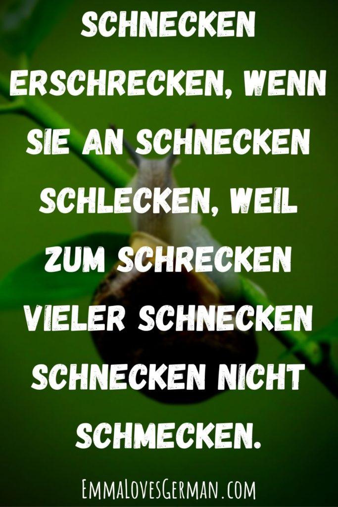 schnecken erschrecken german tongue twister