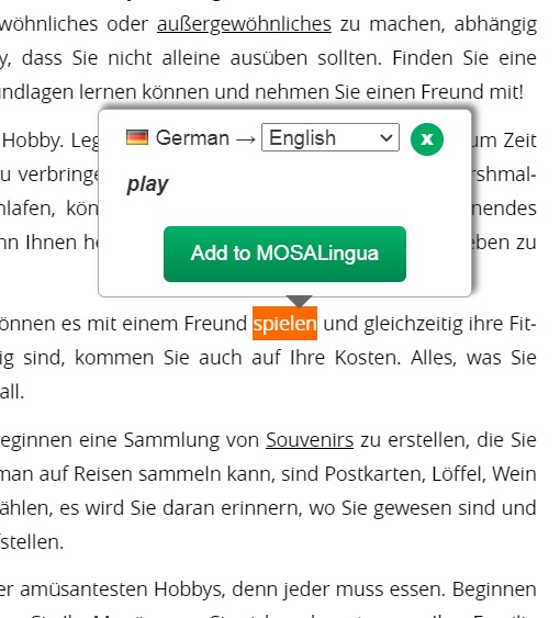 mosalingua review, example of text highlight
